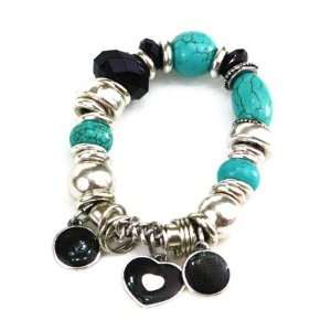 Handmade Silver plated Turquoise /Onyx Stretch Charm Bracelet