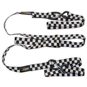Black/White Check ATV/Motorcycle/Snowmobile Dual Safety Slip Tow Strap