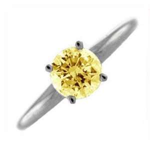 25Ct Round Yellow Diamond Solitaire Engagement Ring 18k Gold Jewelry