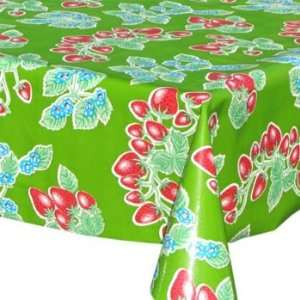 Strawberry Oilcloth (green) Table Cloth   48 x 84