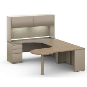 U Shape Office Desk Workstation, Steel   Laminate P Top Desk