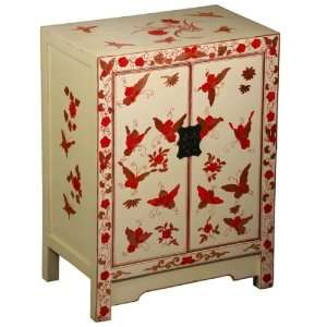 Gold Butterfly & Peony Storage Cabinet / End Table Furniture & Decor