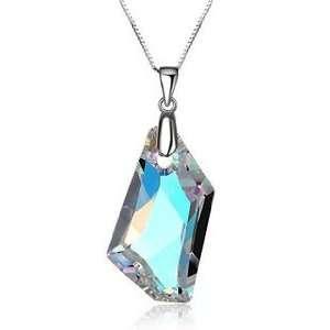 Aurora Borealis Crystal Pendant Necklace Used Swarovski Crystals
