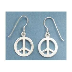 Sterling Silver Polished Peace Sign/Symbol French Wire Earrings, 11/16