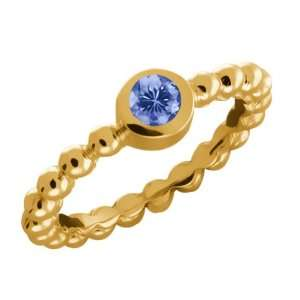 0.30 Ct Round Blue Tanzanite 10k Yellow Gold Ring Jewelry