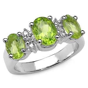 2.95 Carat Genuine Peridot & White Topaz Silver Ring Jewelry