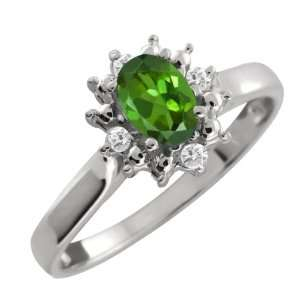 Oval Green Tourmaline and White Diamond Argentium Silver Ring Jewelry
