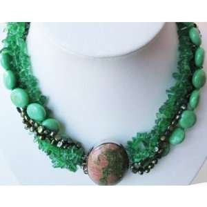 Pearl Turquoise Crystal Beads Necklace Stone Clasp