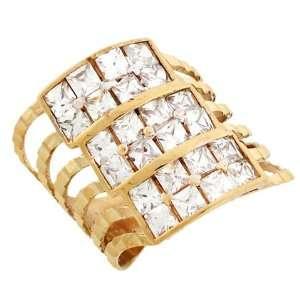 Yellow Gold Diamond Cut CZ Eye Catching Unique Ring Jewelry Jewelry