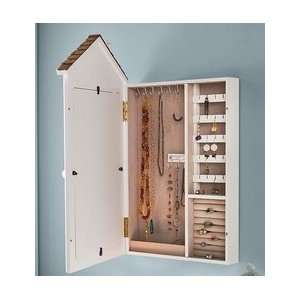 Wall Mount Painted Mirrored Wood Jewelry Organizer Cottage