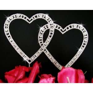 Crystal Double Heart Wedding Anniversary Cake Topper