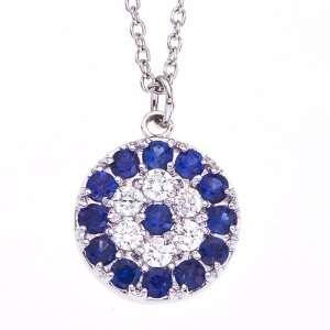 White gold White diamonds and Blue Sapphire evil eye pendant necklace