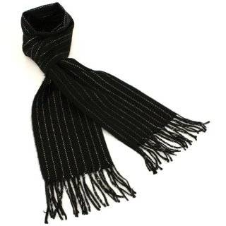 Mens Winter Ski Cashmere Feel Scarf Pinstripe Black with White