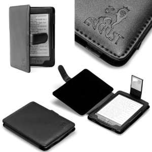 August Lion (TM) Genuine Leather Black Case for Kindle 4 with Compact