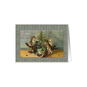cats and tree victorian vintage Merry Christmas Card