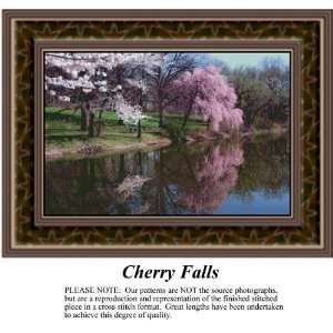 Cherry Falls, Landscapes Counted Cross Stitch Pattern PDF