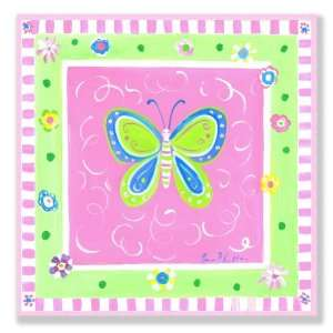 The Kids Room Butterfly with Blue and Pink Border Square