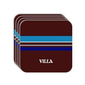 VILLA Set of 4 Mini Mousepad Coasters (blue design) Everything Else