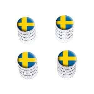 Swedish Flag   Tire Rim Wheel Valve Stem Caps   Aluminum Automotive