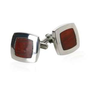 Bold Cherry Wood Stainless Steel Cufflinks with Gift Box