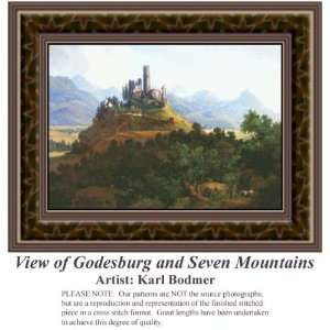 View of Godesburg and Seven Mountains, Counted Cross Stitch Patterns