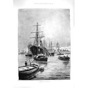 1895 WINTER SCENE SHIPS GRAVESEND HANSEL GRETEL THEATRE