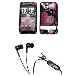 Pink Hearts Design Hard Case Cover + Stereo Hands Free 3.5mm Headset