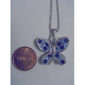 Silver and Blue Swarovski Crystal Butterfly Necklace