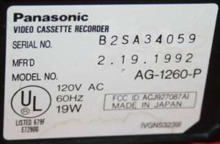 PANASONIC AG 1260 P SUPER 4 HEAD VCR