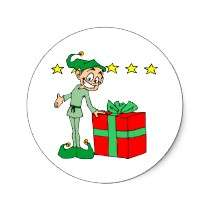 Elf Wrapped Gifts Holiday Card Envelope Stickers stickers by