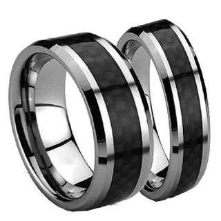 His Hers Tungsten Carbide Black Carbon Filber 2 Pcs Wedding Band Set