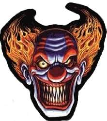 SCARY EVIL CLOWN LAUGHING EMBROIDERED BIKER BACK PATCH!