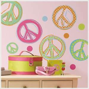 26 New GLITTER PEACE SIGNS WALL DECALS Pink Green Stickers Girls