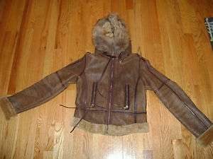 ANDREW MARC brown leather shearling w/ fur hood