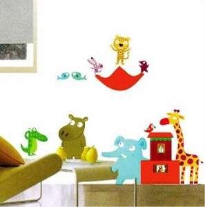 JUNGLE ANIMALS Kids Boys Room Nursery Removable Wall Stickers