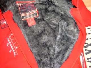 Mens Red hoodie jacket by Pepe Jeans London 2X Faux Fur