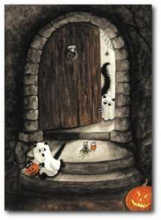Peek&Boo Black Cats Hamster Halloween Haunted House Trick Treat   ACEO