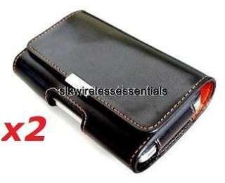 Lot of 2 Original OEM AT&T Premium Black Leather Flip Case Pouch Cover