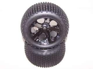 3707 Rustler VXL 4x2 Brushless 2.8 Rear Black Chrome Wheels Tires Rims