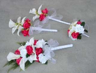 Fuchsia Pink CALLA LILY Roses Wedding Flowers SET Silk