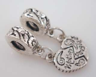 10pcs MOTHER & DAUGHTER Heart Charms Fit Bracelet G36