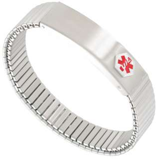 Mens Brushed Stainless Steel Medical Alert Expansion Bracelet
