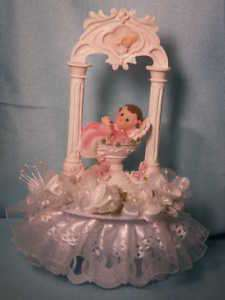 Christening Cake Top Baby Girl In a Baptism Fountain