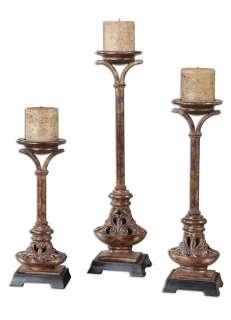 World Antique Gold Leaf Pillar Candleholders S/3 792977195192