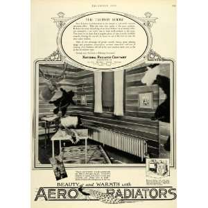 1926 Ad Hunting Rooms Deer Bear Aero Radiators Boilers
