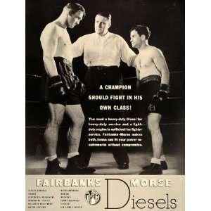 1937 Ad Fairbanks Morse Boxers Boxing Ring Referee B/W