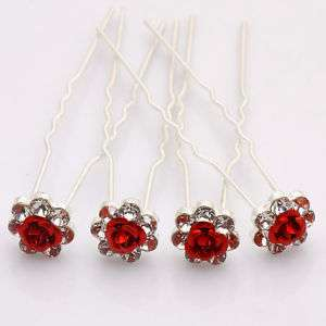 Red Rose Flower Crystal Bridal Wedding Hair Pins Clip