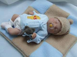 OOAK Sculpted Baby Boy Polymer Clay Art Doll Poseable Collectible