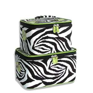 GREEN ZEBRA SET 2 Cosmetic Case Luggage Tote makeup bag