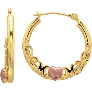 10kt Yellow Gold with Pink Heart Mom Earrings Earrings